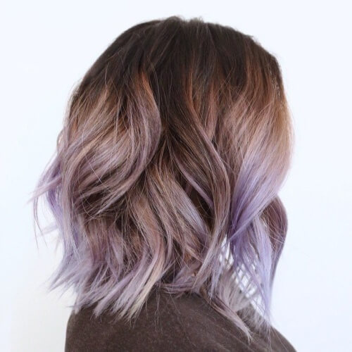 Lavender Balayage on Brown Hair Style