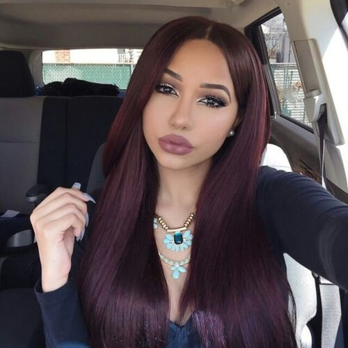 Long Straight Black Cherry Hair