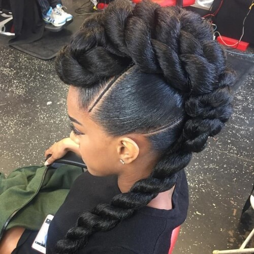 Mohawk Braids with Weave