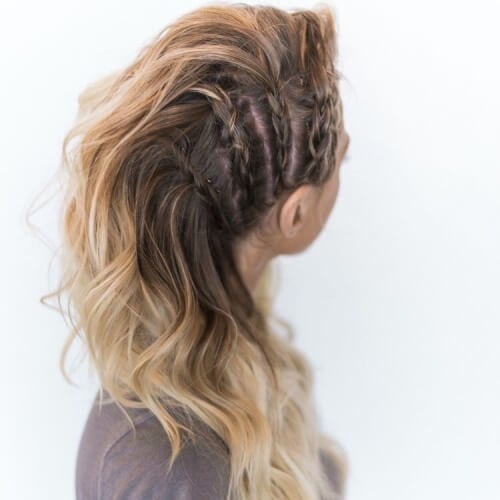Side Braids Faux Hawk