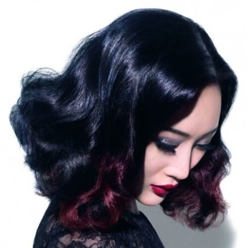 Splash of Black Cherry on Black Hair