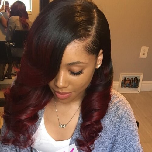 Weave with Black Cherry Hair Ombre