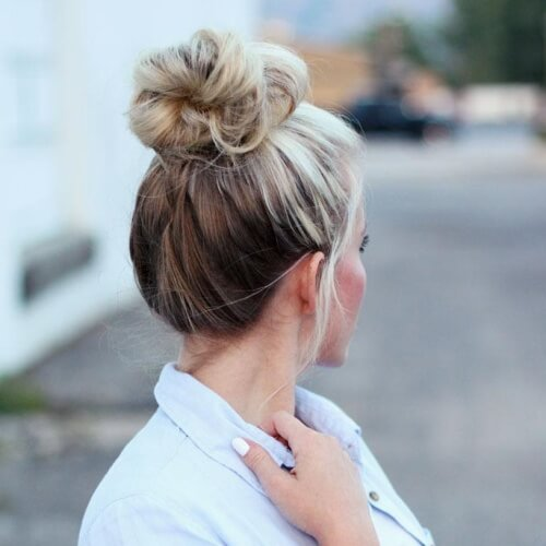 Messy Bun with Two Tone Hair