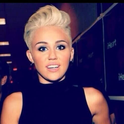Miley Cyrus Haircut with Quiff Hairstyle