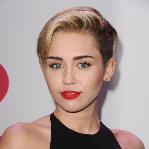 Miley Cyrus Haircut with Soft Pink Accents