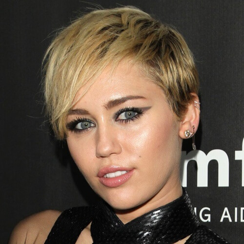 Pixie Miley Cyrus Haircut with Side Bangs