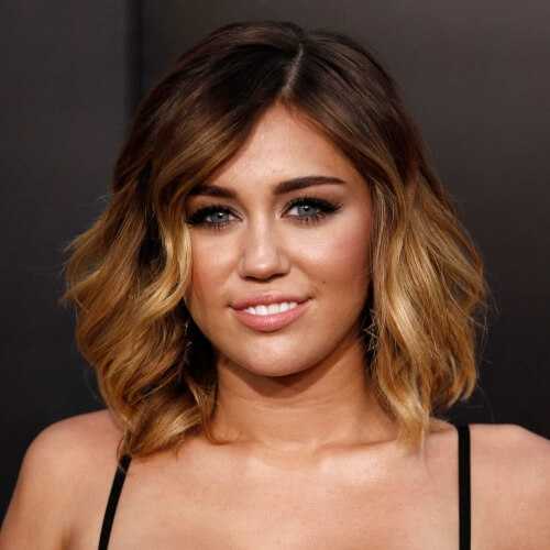 Shoulder-length Miley Cyrus Haircut with Ombre