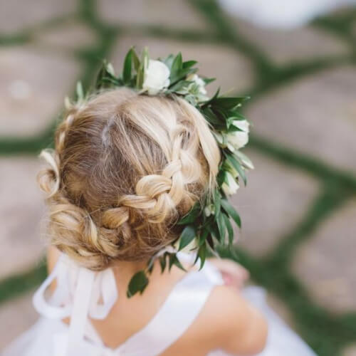 Braided boho flower crown flower girl hairstyles