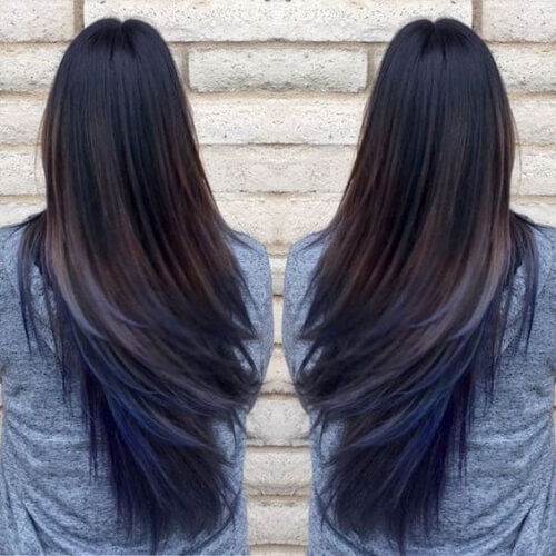 Brown hair ombre with blue underneath