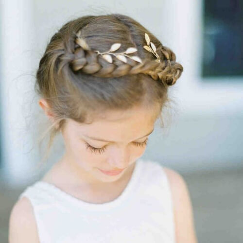 Crown Braid with Gold Leaves flower girl hairstyles