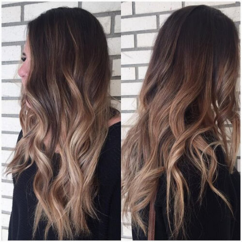 Dark-Brown Hair with Dusty Rosy Dark-Blonde Balayage brown ombre hair