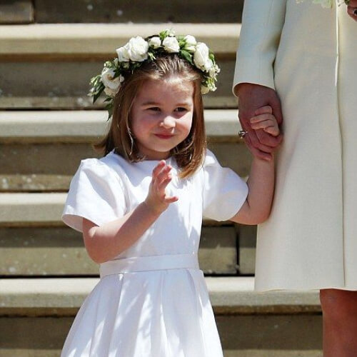 Princess Charlotte after the wedding of Prince Harry and Meghan Markle at Windsor Castle flower girl hairstyles