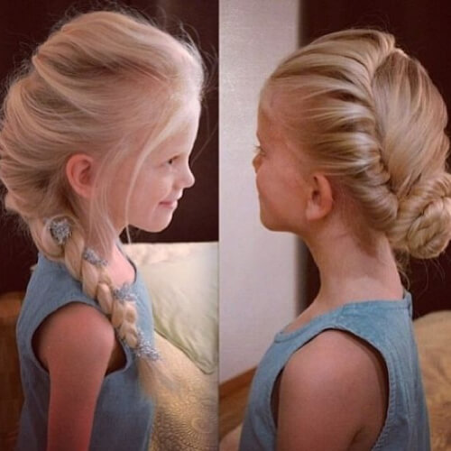 elsa braid and coronation bun flower girl hairstyles