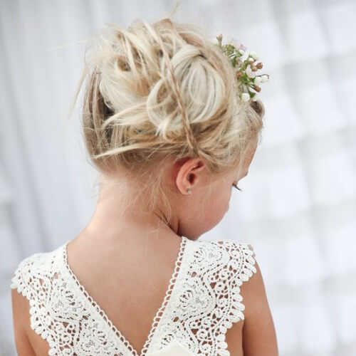 messy flower girl hairstyles