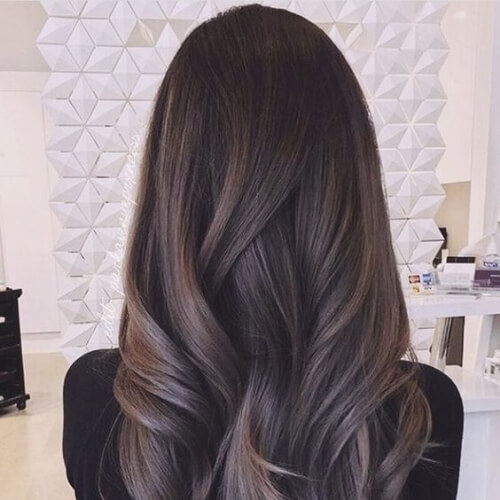 misty blue brown ombre hair
