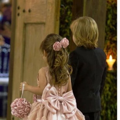 pink roses flower girl hairstyles