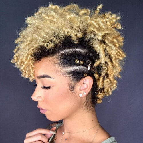 Black And Blonde Curly Natural Fauxhawk curly mohawk