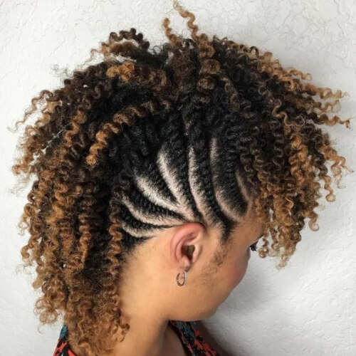 Curly Mohawk with Flat Twisted Sides