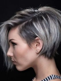 Stacked Pixie-Bob with Long Bangs pixie cut with long bangs