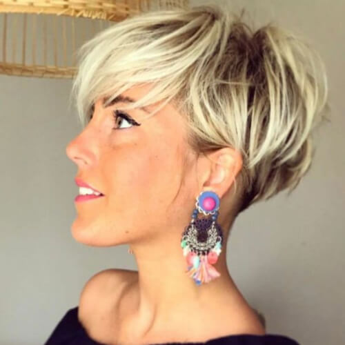 Undercut Blonde Pixie with Dark Roots pixie cut with long bangs
