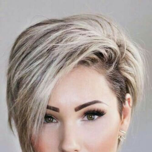 beige blonde pixie cut with long bangs