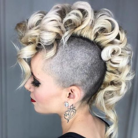 blonde curly mohawk