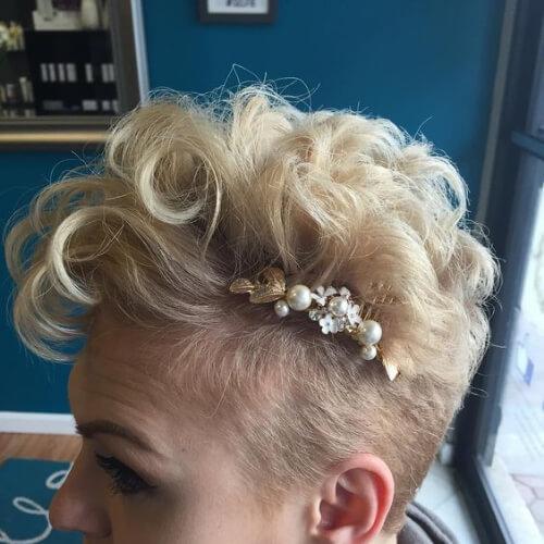 bridal curly mohawk