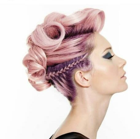 bubblegum pink curly mohawk