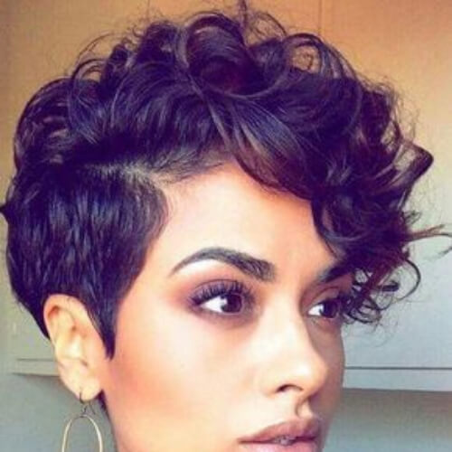curly pixie cut with long bangs