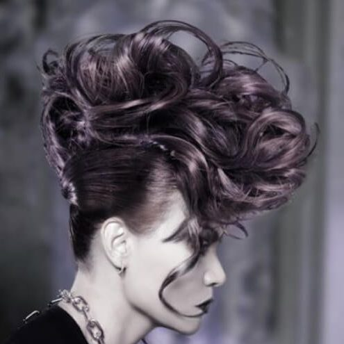 dark violet curly mohawk
