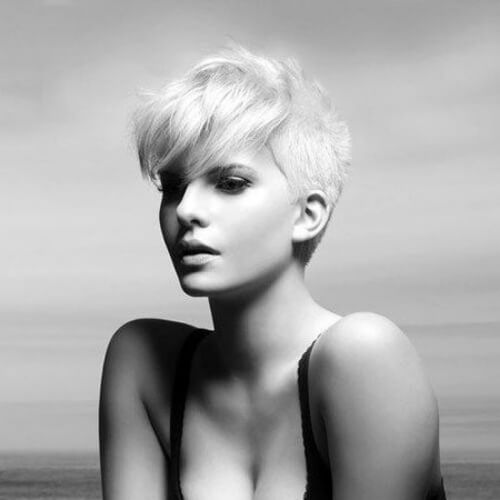 exquisite pixie cut with long bangs