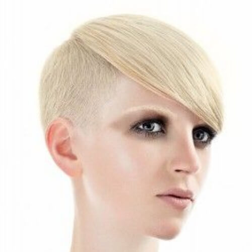 extreme pixie cut with long bangs