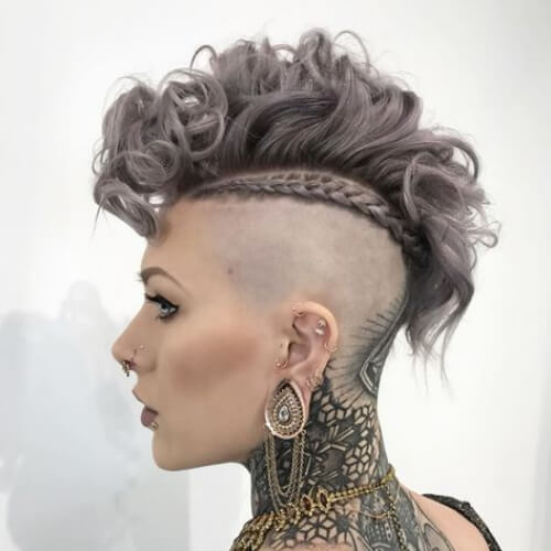 gray curly mohawk