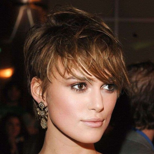 keira pixie cut with long bangs