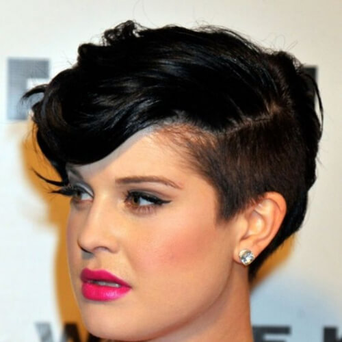 kelly osbourne pixxie cut with long bangs