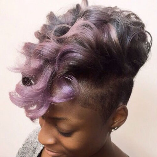 lavender curly mohawk