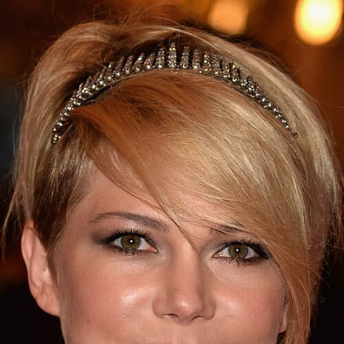 michelle williams pixie cut with long bangs