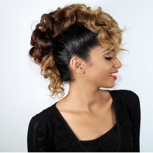 ombre curly mohawk