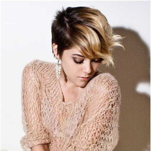 ombre pixie cut with long bangs