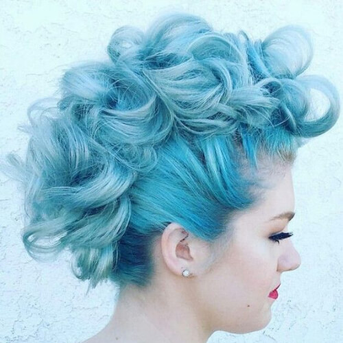 pastel blue curly mohawk