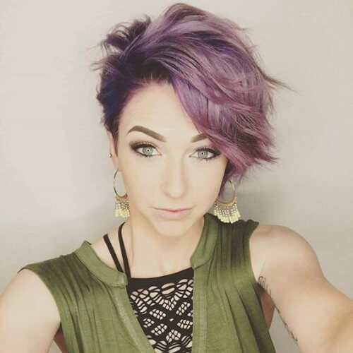 purple pixie cut with long bangs