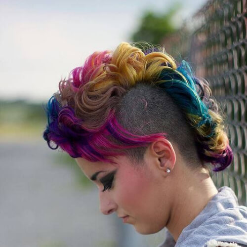 rainbow curly mohawk