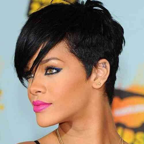 rihanna pixie cut with long bangs
