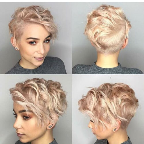 rose gold pixie cut with long bangs