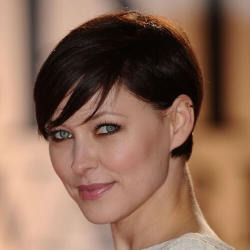 simple pixie cut with long bangs