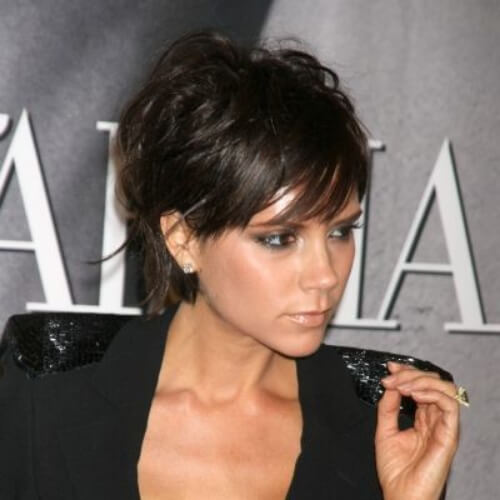victoria beckham pixie cut with long bangs