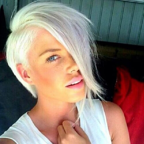 white pixie cut with long bangs