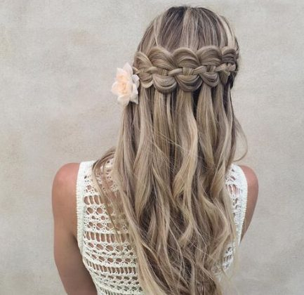 4 Strand Waterfall braid with curls