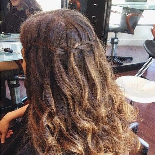 Cross Over Half Up Style waterfall braid with curls