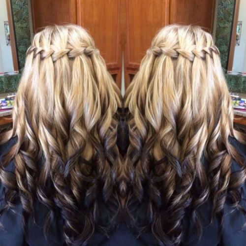 Reverse Ombre waterfall braid with curls